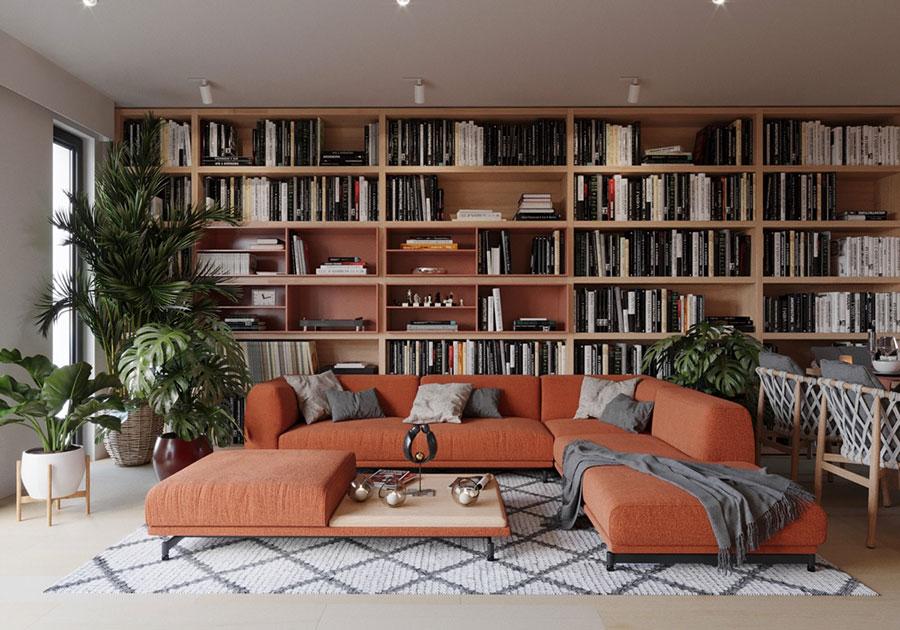 Idee per arredare il soggiorno con una libreria a parete n.02