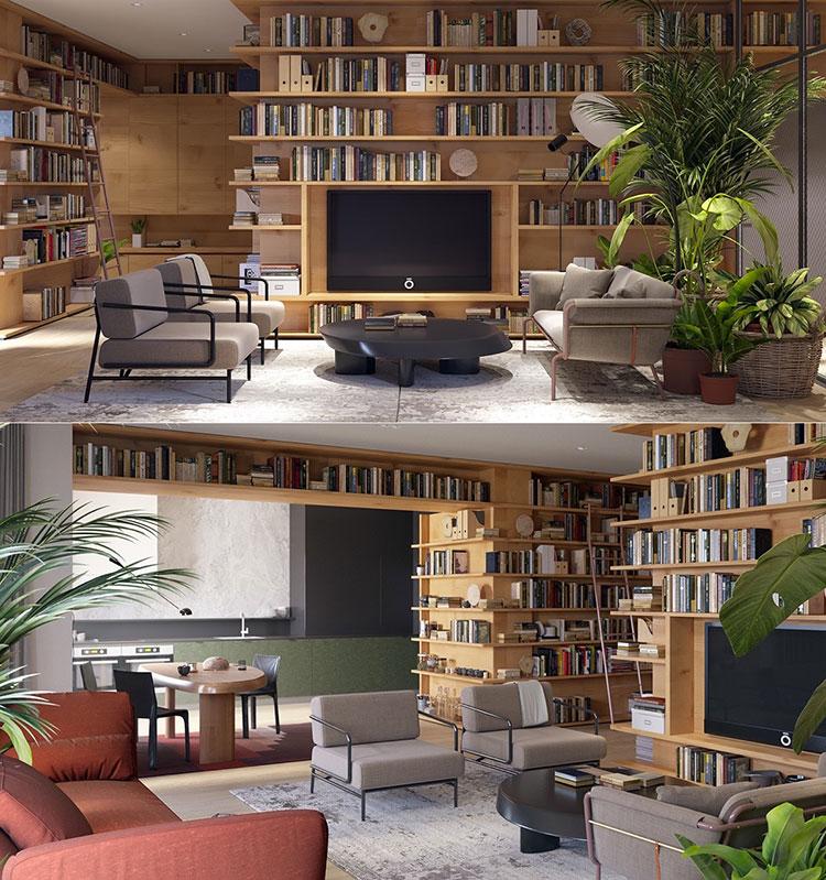 Idee per arredare il soggiorno con una libreria a parete n.03