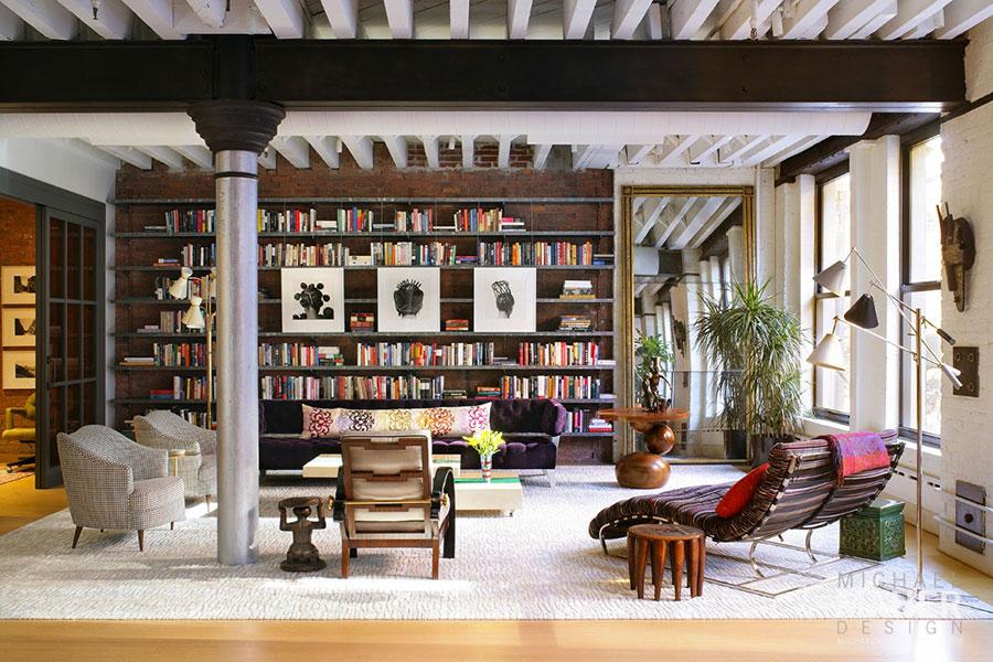 Idee per arredare il soggiorno con una libreria a parete n.04