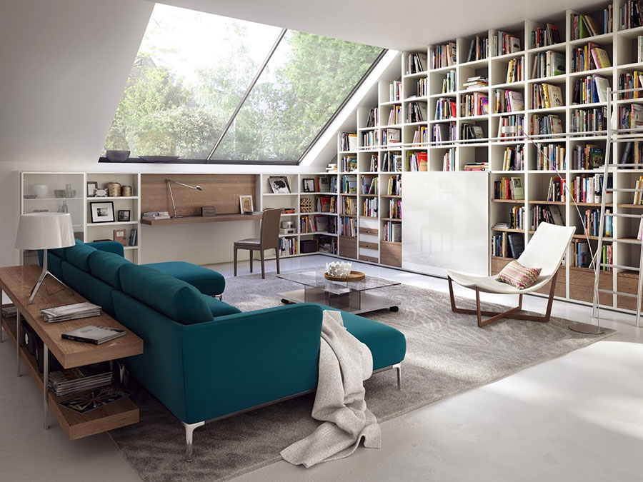 Idee per arredare il soggiorno con una libreria a parete n.06