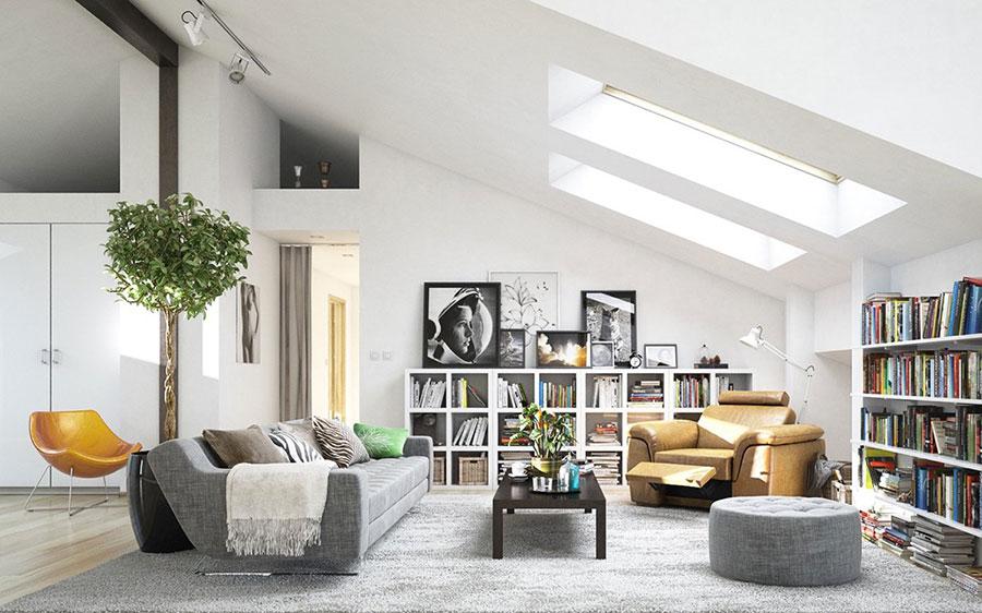 Idee per arredare il soggiorno con una libreria a parete n.07