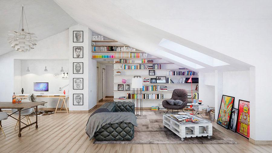 Idee per arredare il soggiorno con una libreria a parete n.08