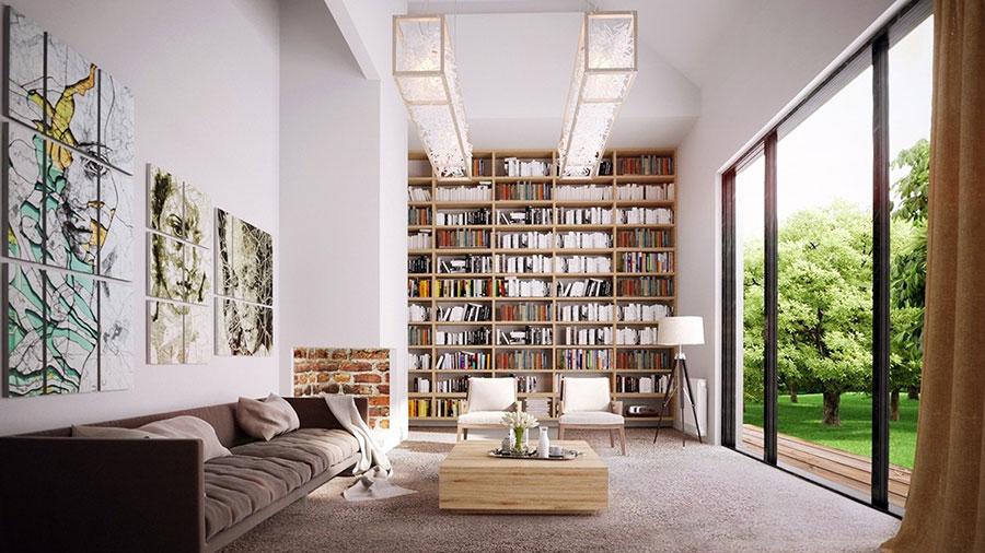 Idee per arredare il soggiorno con una libreria a parete n.09