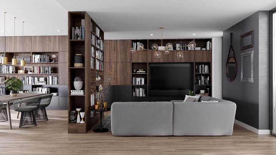 Idee per arredare il soggiorno con una libreria a parete n.10