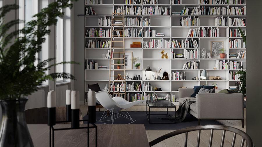 Idee per arredare il soggiorno con una libreria a parete n.11