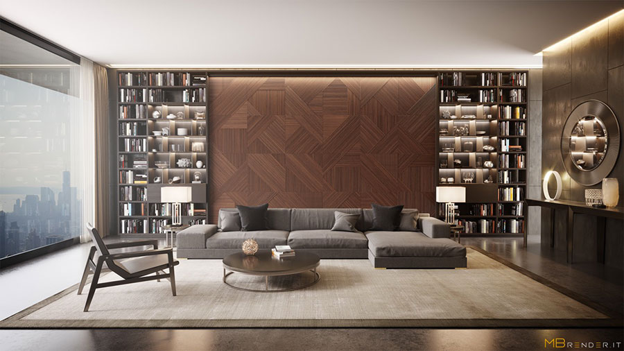 Idee per arredare il soggiorno con una libreria a parete n.13