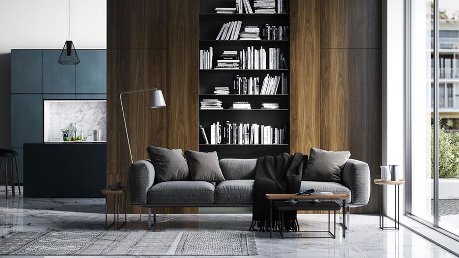 Idee per arredare il soggiorno con una libreria a parete n.14