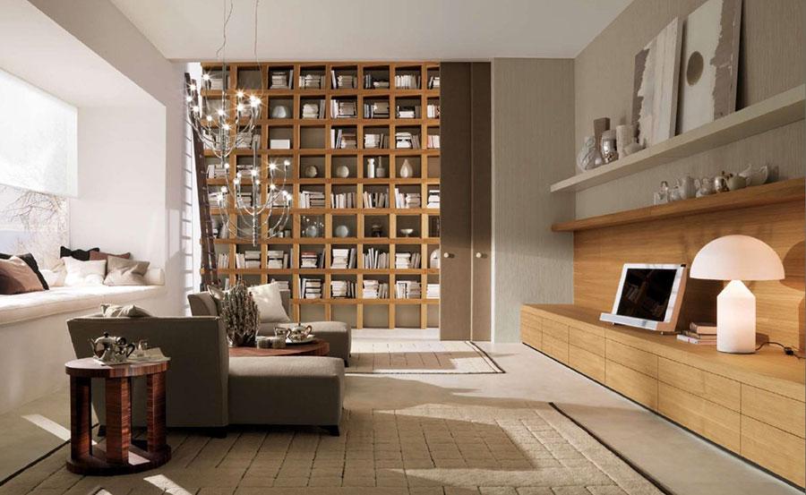 Idee per arredare il soggiorno con una libreria a parete n.15
