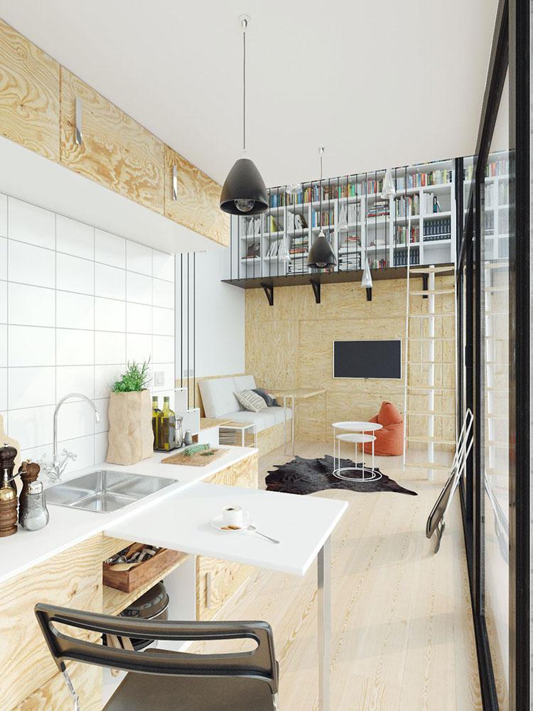 Idee per arredare il soggiorno con una libreria a parete n.16