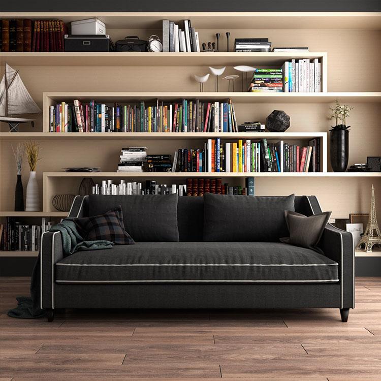 Idee per arredare il soggiorno con una libreria a parete n.18