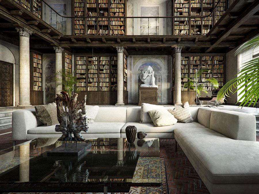Idee per arredare il soggiorno con una libreria a parete n.19