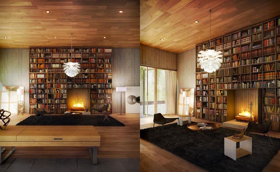 Idee per arredare il soggiorno con una libreria a parete n.20