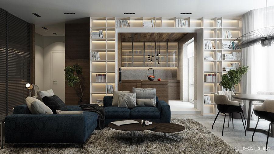 Idee per arredare il soggiorno con una libreria a parete n.22