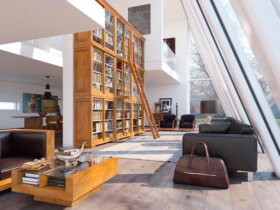 Idee per arredare il soggiorno con una libreria a parete n.25