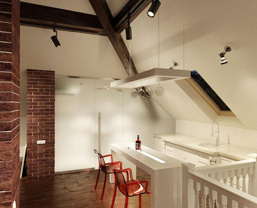 Idee per arredare una cucina in mansarda n.21