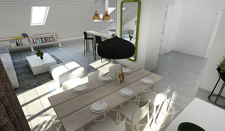 Idee per arredare una mansarda open space n.27