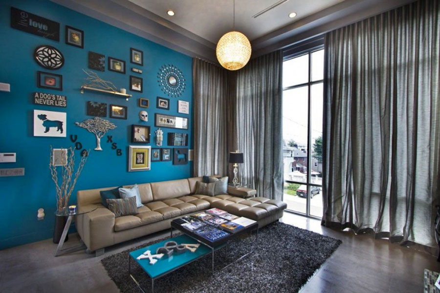 Pareti del soggiorno di colore blu n.03