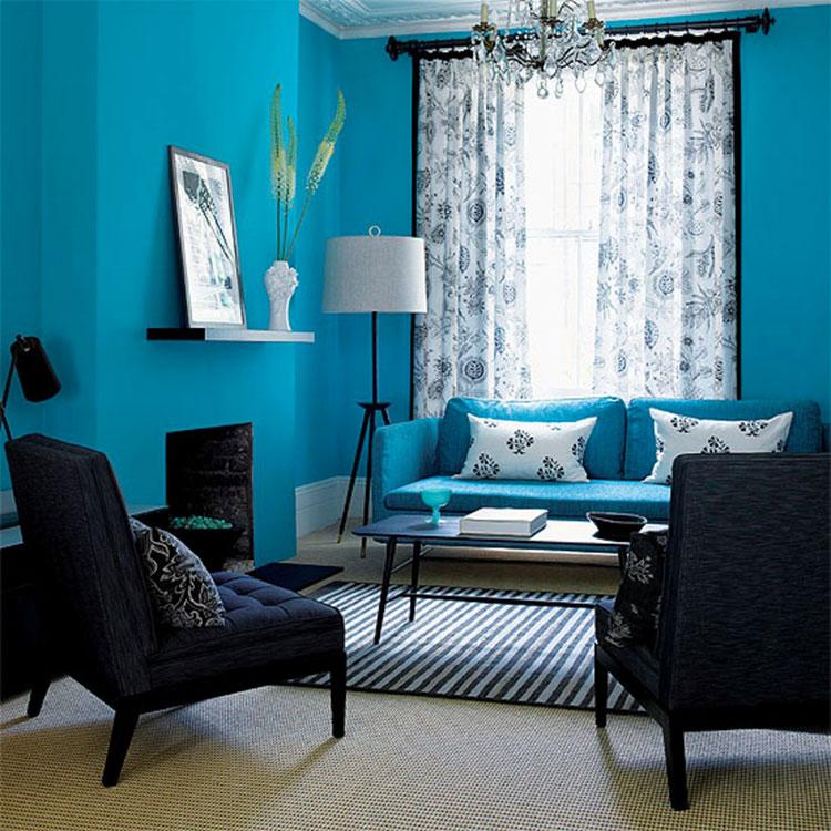 Pareti del soggiorno di colore blu n.05