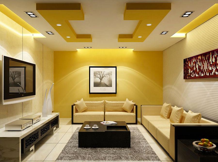 Pareti del soggiorno di colore giallo n.02