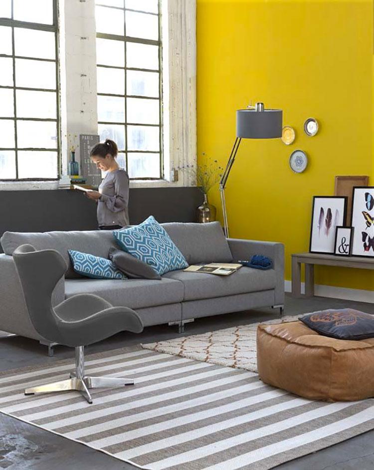Pareti del soggiorno di colore giallo n.03