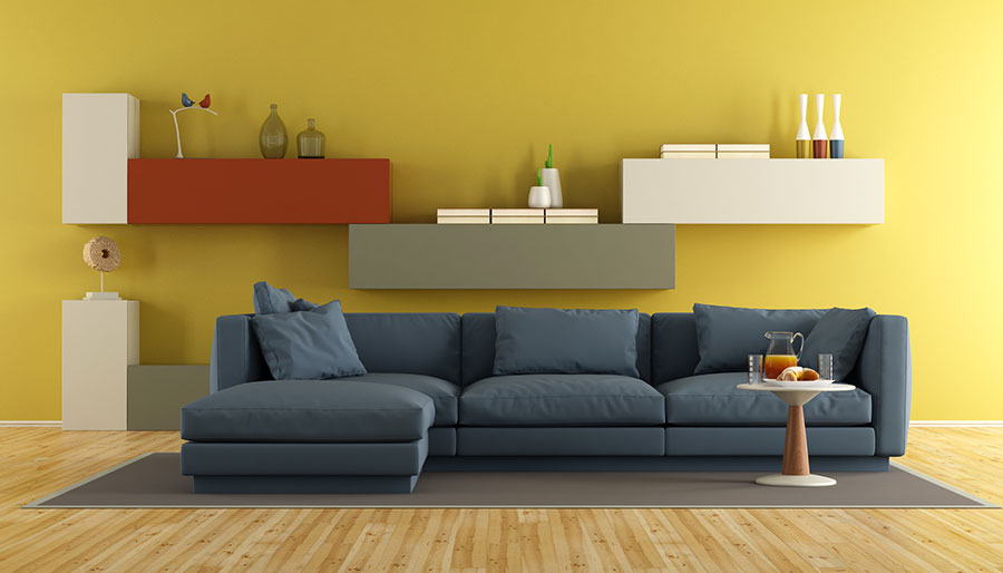 Pareti del soggiorno di colore giallo n.04