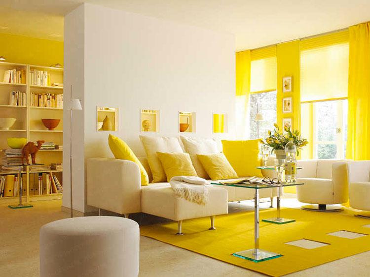 Pareti del soggiorno di colore giallo n.05