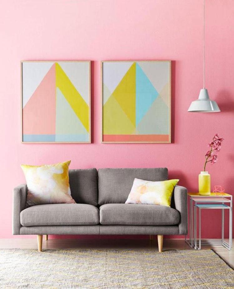 Pareti del soggiorno di colore rosa n.02