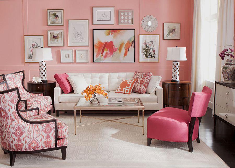 Pareti del soggiorno di colore rosa n.03