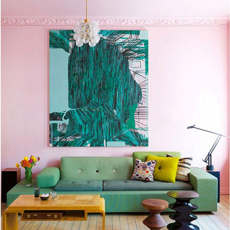Pareti del soggiorno di colore rosa n.04