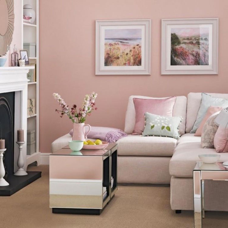 Pareti del soggiorno di colore rosa n.05