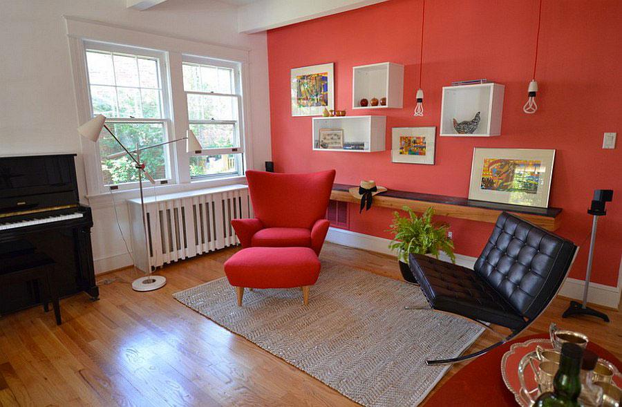 Pareti del soggiorno di colore rosso n.02