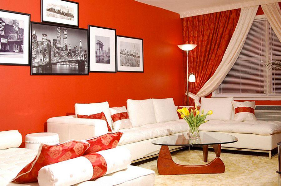 Pareti del soggiorno di colore rosso n.03