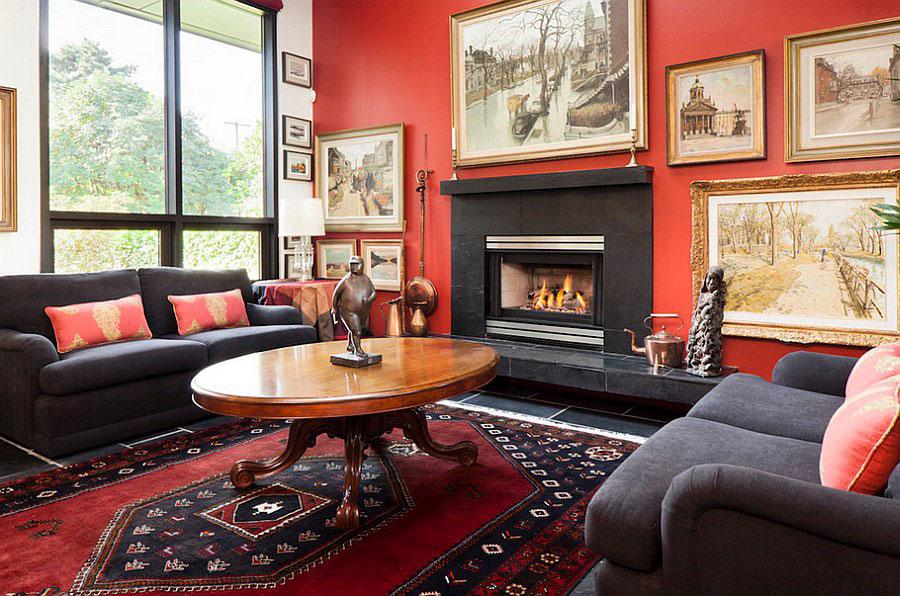 Pareti del soggiorno di colore rosso n.05