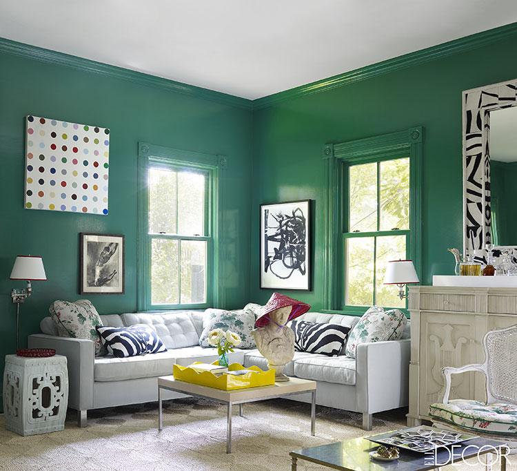 Pareti del soggiorno di colore verde n.03