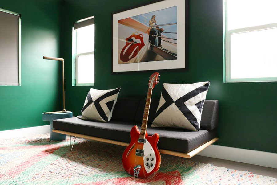 Pareti del soggiorno di colore verde n.04