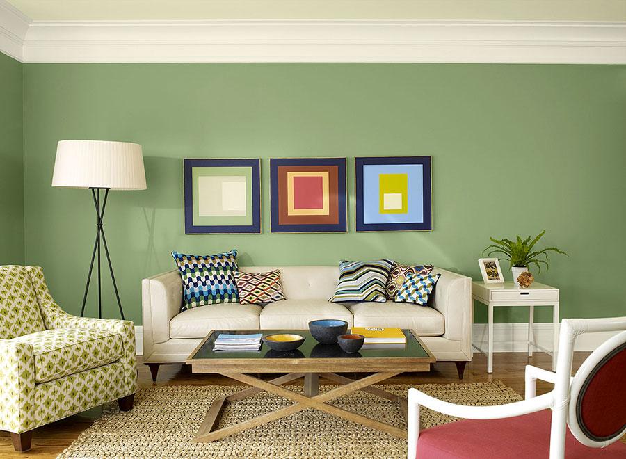 Pareti del soggiorno di colore verde n.05