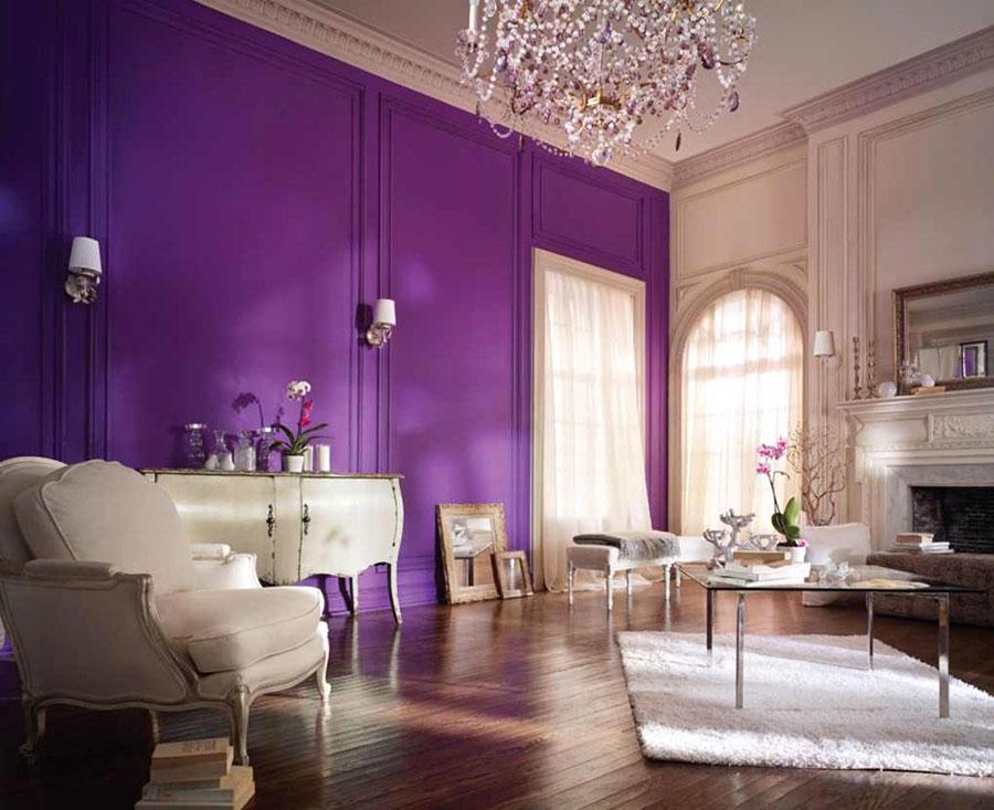 Pareti del soggiorno di colore viola n.05