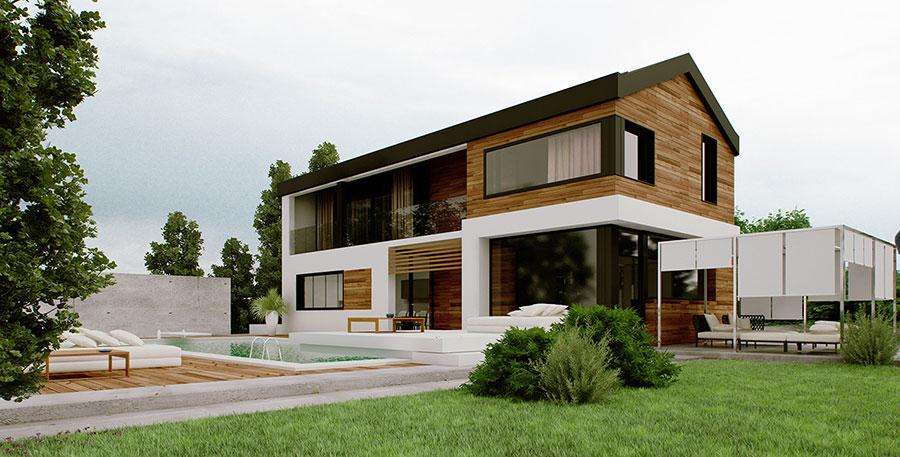 Casa prefabbricata in legno dei costruttori Barra e Barra