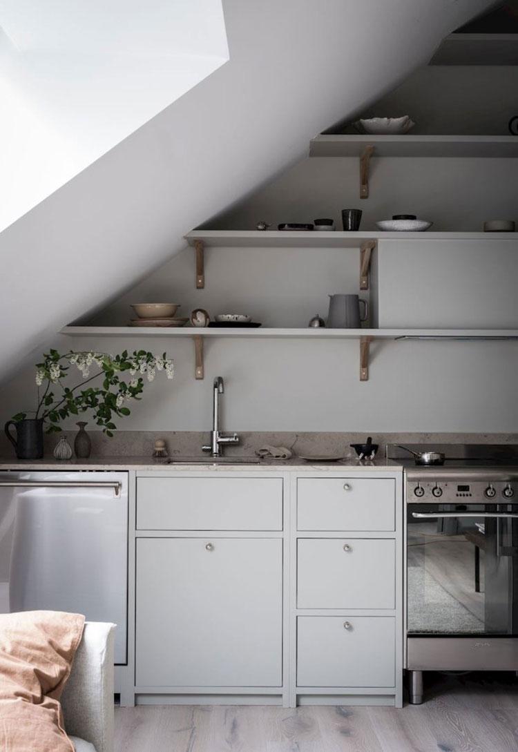 Idee Soggiorno Cucina Piccolo idee per arredare una cucina in mansarda | mondodesign.it