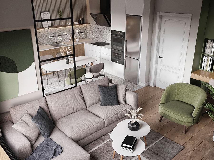 Cucina soggiorno open space di 30 mq n.01