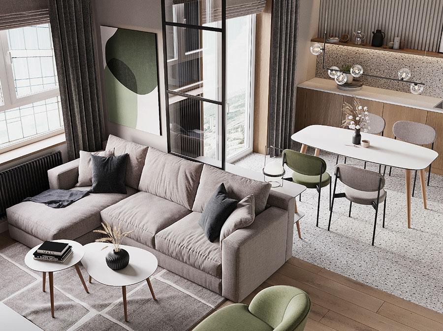 Cucina soggiorno open space di 30 mq n.03