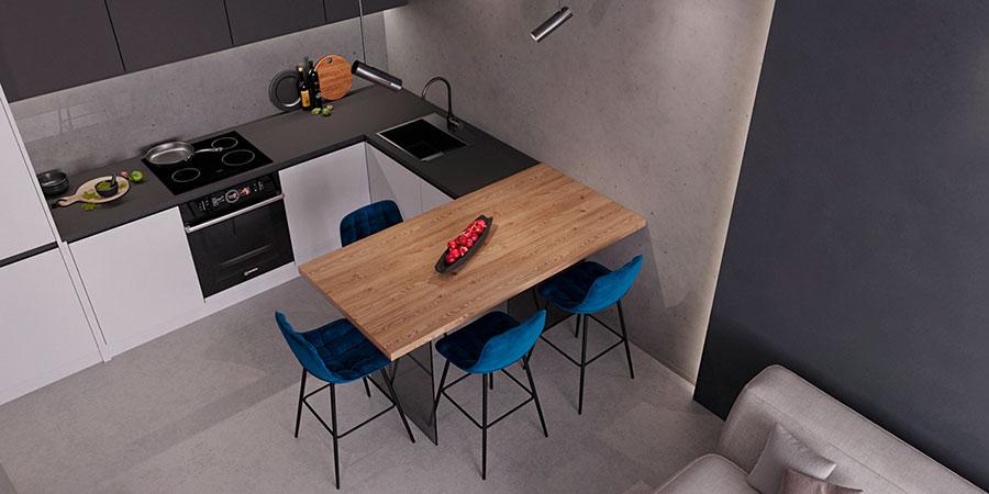 Cucina soggiorno open space di 30 mq n.07