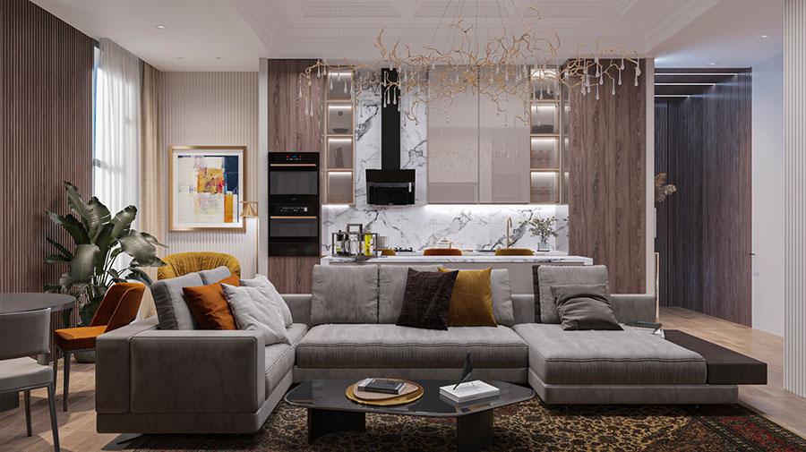 Cucina soggiorno open space di 30 mq n.12