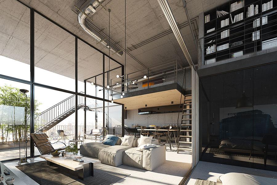 Progetto di arredamento per loft con soppalco n.05