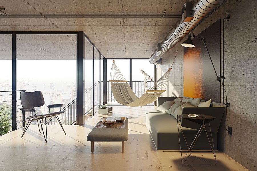 Progetto di arredamento per loft con soppalco n.08