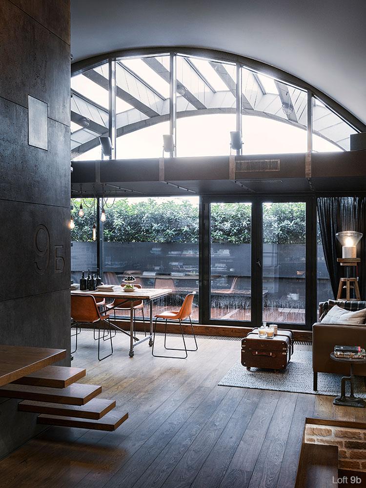 Progetto di arredamento per loft con soppalco n.11