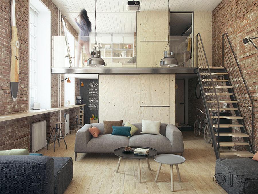 Progetto di arredamento per loft con soppalco n.14