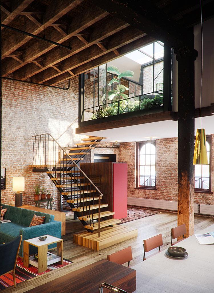 Progetto di arredamento per loft con soppalco n.23