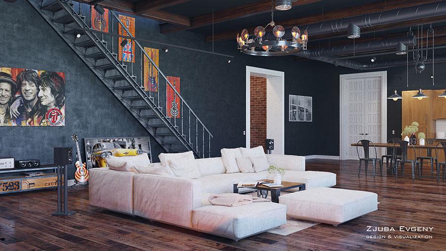 Progetto di arredamento per loft con soppalco n.34