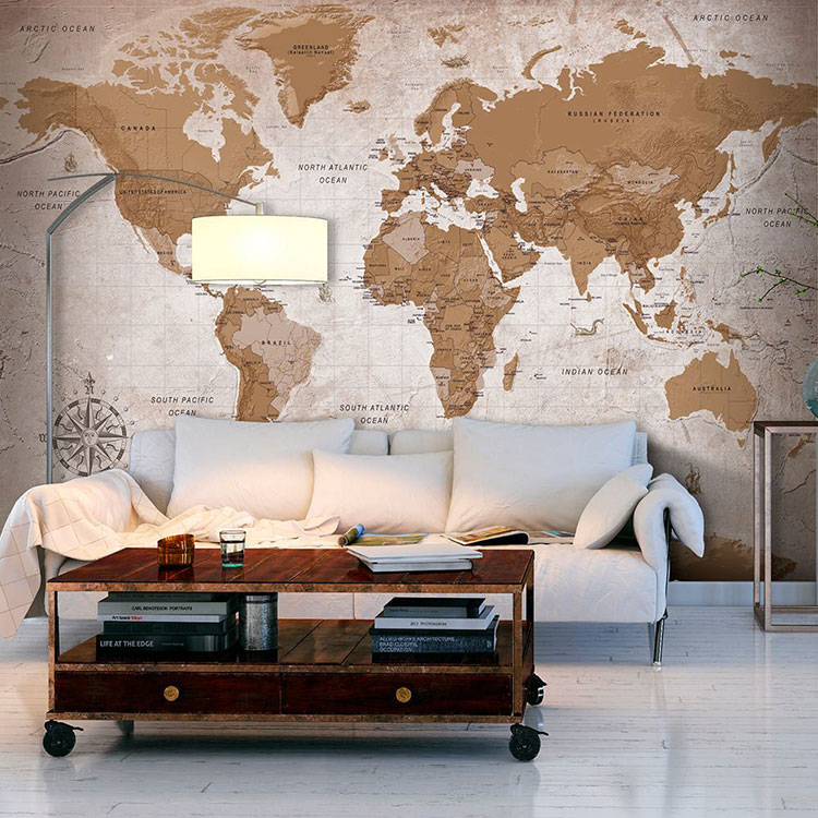 20 tipi di carta da parati con mappamondo for Carta da parati cartina geografica